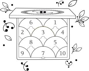 T-leclerc : schéma de la palette éventail à regard - Jeux d'une élégante